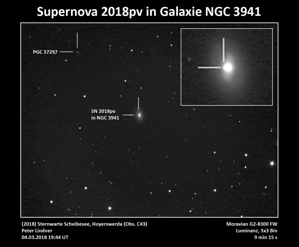 Supernova 2018pv in NGC 3941 (Bild: Peter Lindner)