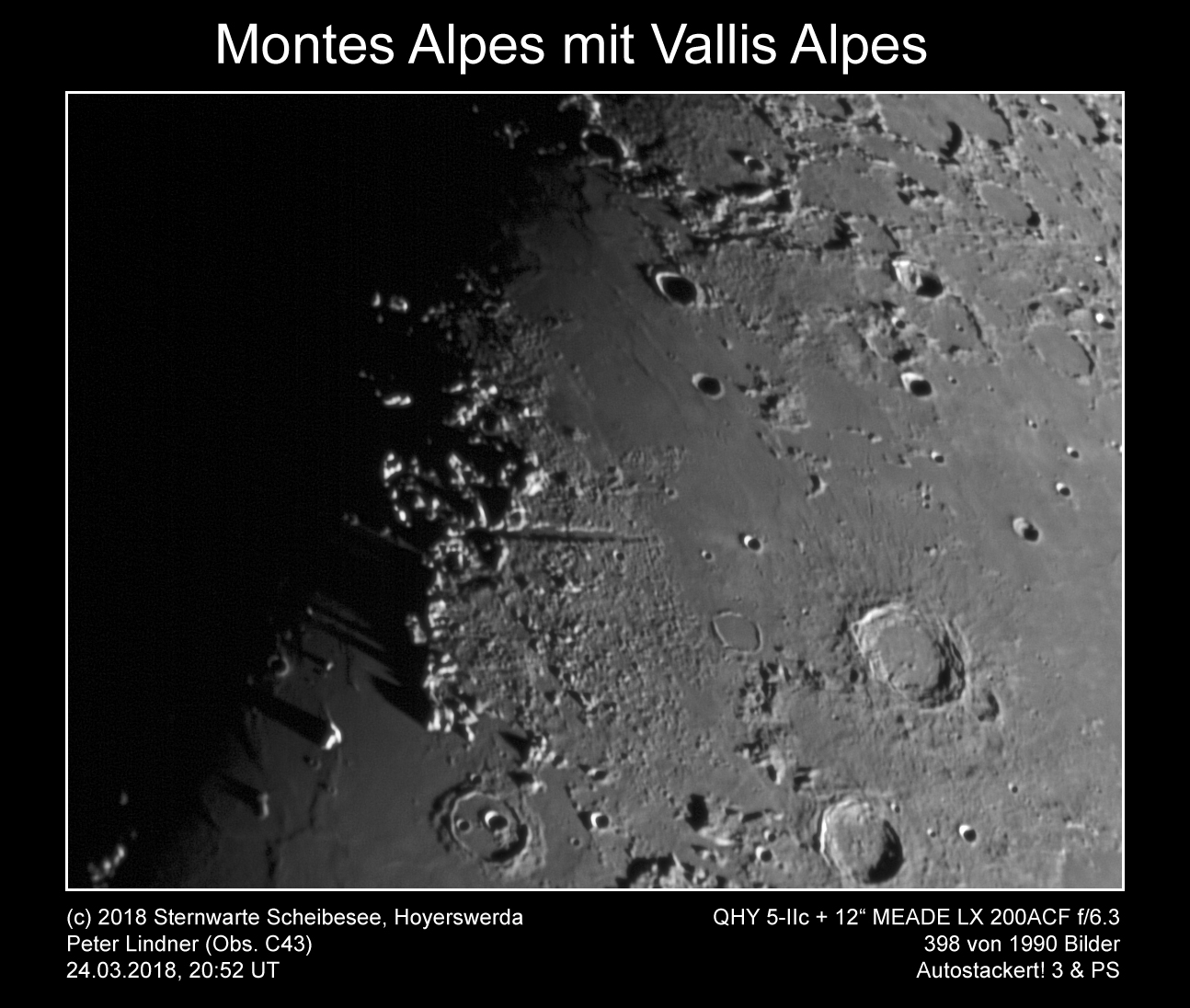 Montes Alpes mit Vallis Alpes am 24.03.2018 (Bild: Peter Lindner)