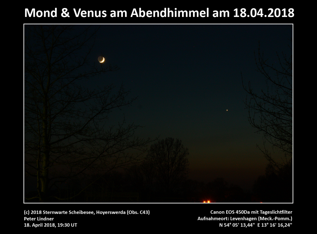 Venus & Mond am Abendhimmel am 18.04.2018 (Bild: Peter Lindner)