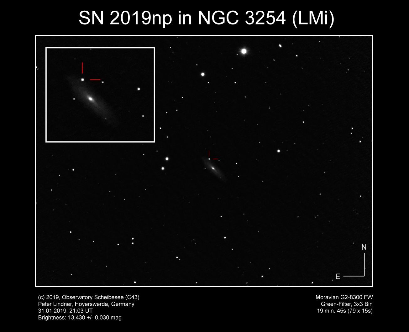 Supernova SN 2019np in NGC 3254 (Bild: Peter Lindner)