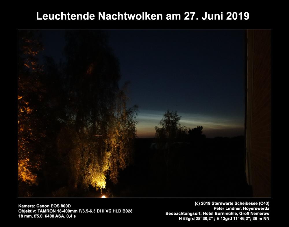 Leuchtende Nachtwolken am 27.06.2019 (Bild: Peter Lindner)