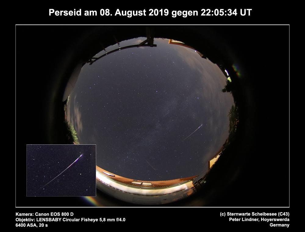 Perseid am 08.08.2019 (Bild: Peter Lindner)