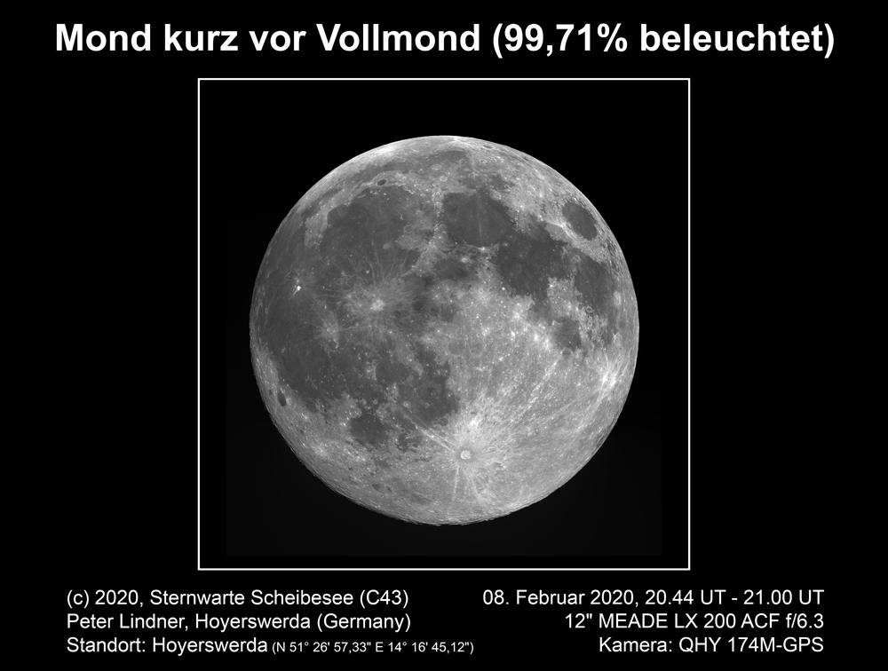 (Voll-)Mond am 08.02.2020 (Bild: Peter Lindner)