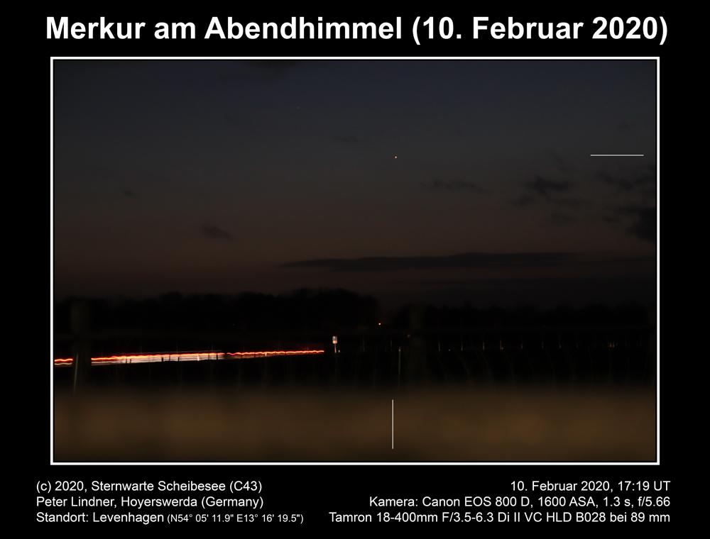 Merkur am Abendhimmel am 10.02.2020 (Bild: Peter Lindner)
