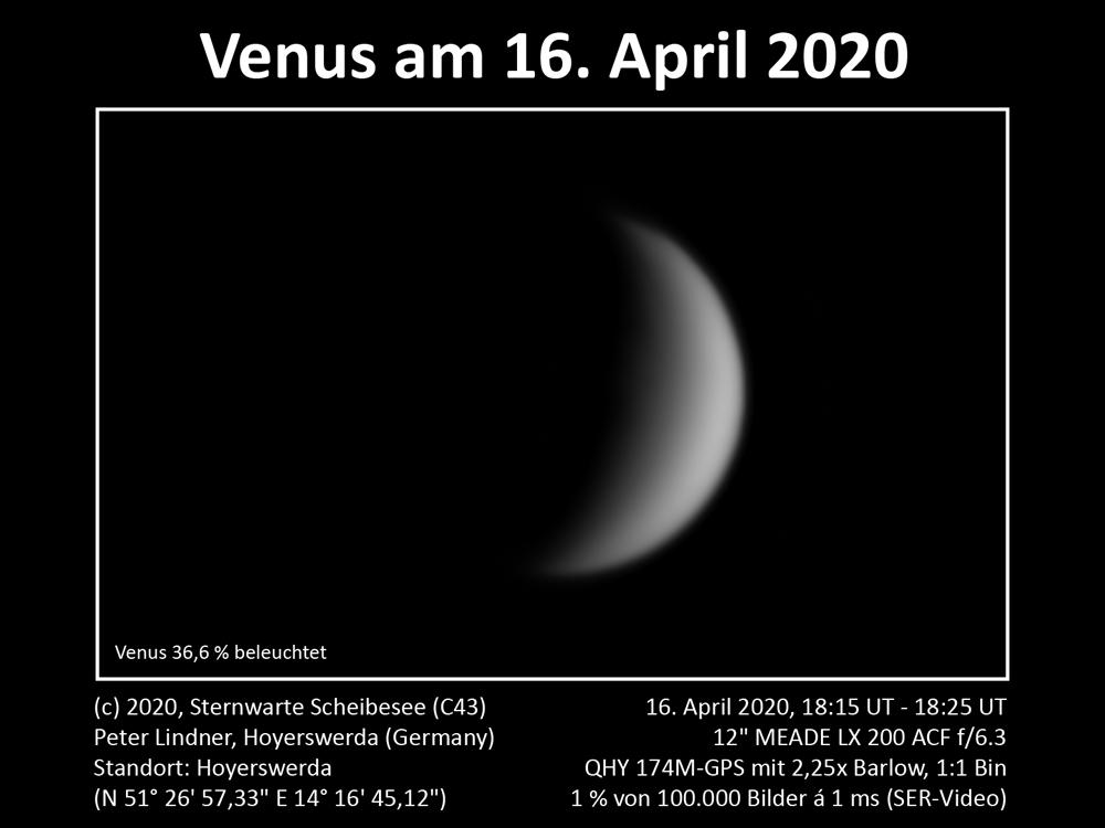 Venus am Abendhimmel 16.04.2020 (Bild: Peter Lindner)