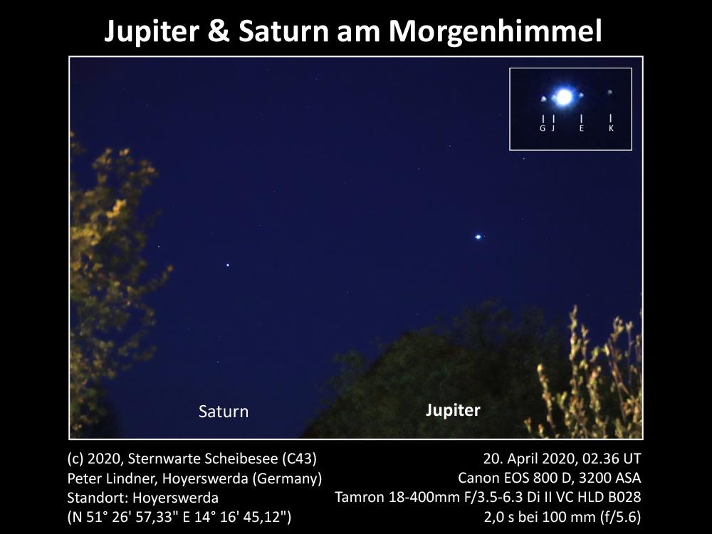 Jupiter & Saturn am Morgenhimmel 20.04.2020 (Bild: Peter Lindner)