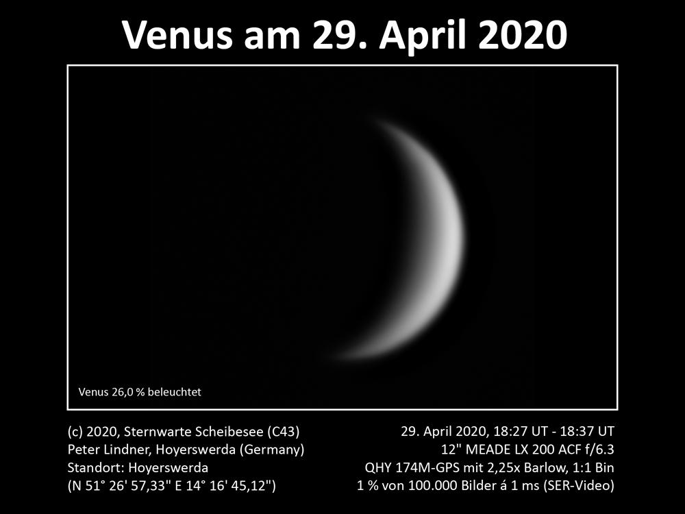 Venus am Abendhimmel 29.04.2020 (Bild: Peter Lindner)