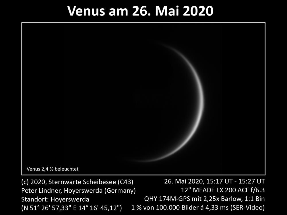 Venus am Abendhimmel 26.05.2020 (Bild: Peter Lindner)