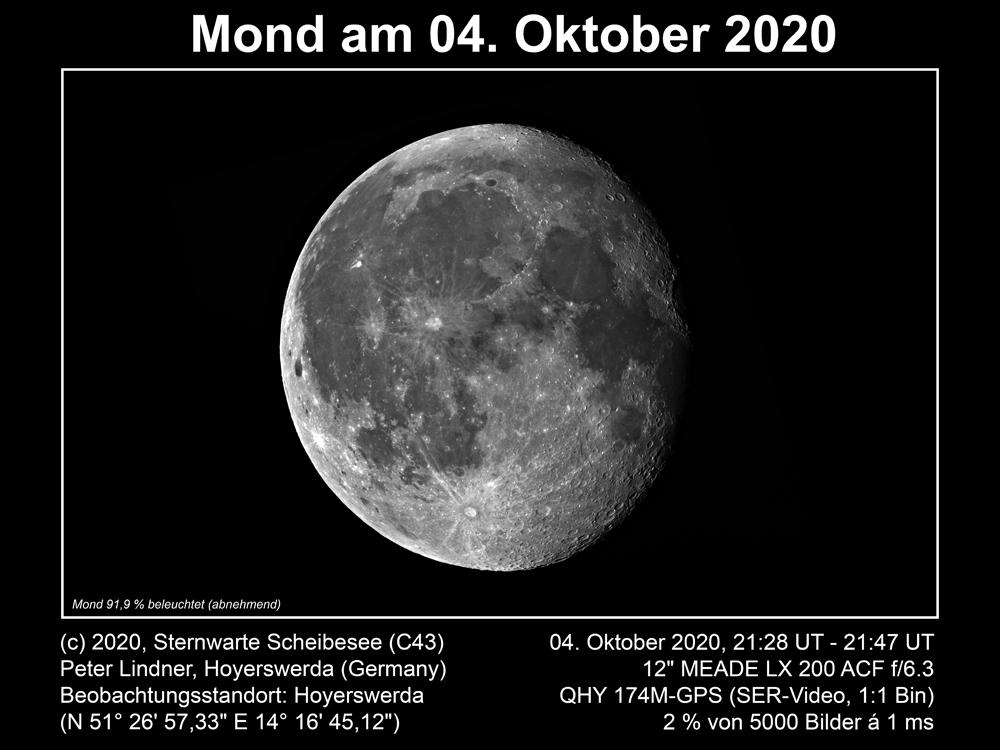 Mond am 04.10.2020 (Bild: Peter Lindner)