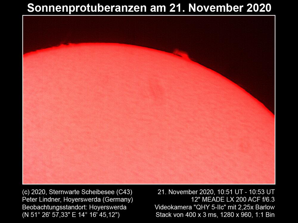 Sonnenprotuberanz am 21.11.2020 (Bild: Peter Lindner)