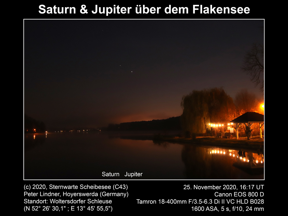 Saturn & Jupiter übr Flakensee am 25.11.2020 (Bild: Peter Lindner)