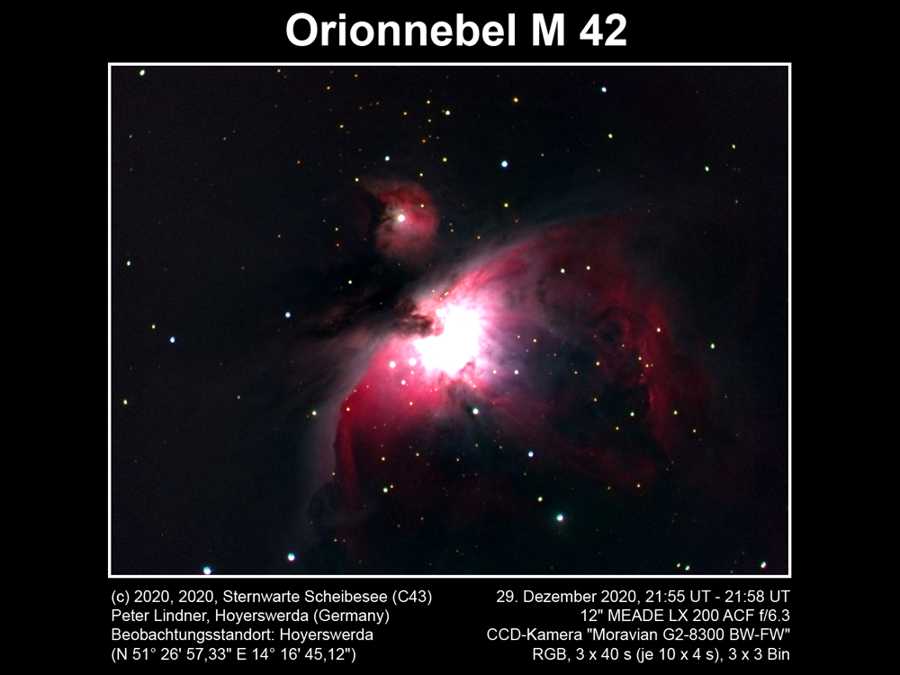 Orionnebel M 42 am 29.12.2020 (Bild: Peter Lindner)